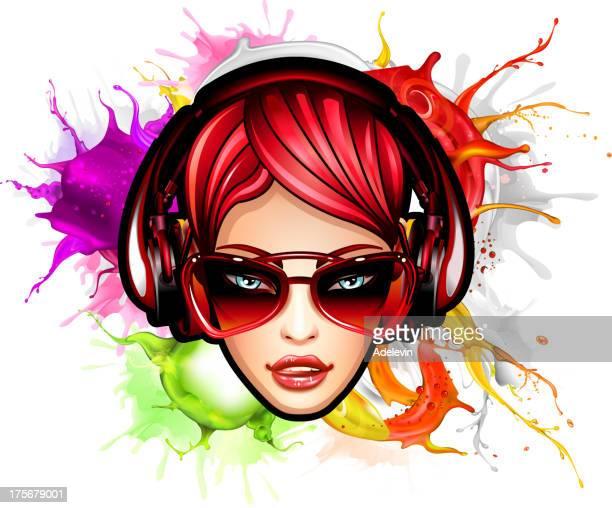 ilustraciones, imágenes clip art, dibujos animados e iconos de stock de rostro de chica de belleza sobre el fondo colorido - mujer escuchando musica