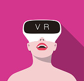 beauty girl wearing Virtual reality glasses. front view, playing games
