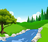 beauty lake with landscape background