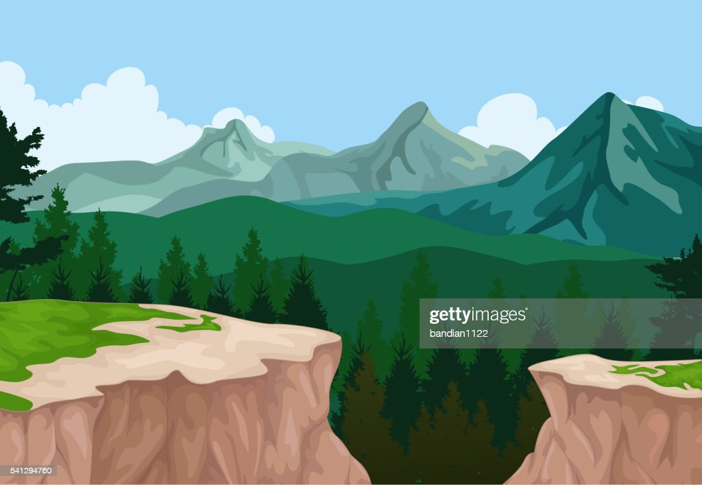 beauty lake with mountain cliff landscape background