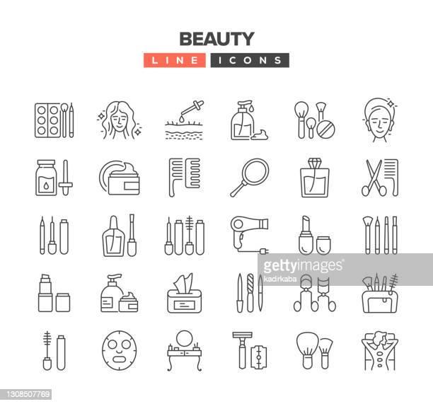 beauty line icon set - schöne natur stock-grafiken, -clipart, -cartoons und -symbole