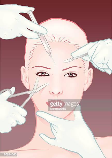 illustrations, cliparts, dessins animés et icônes de folie de beauté - chirurgie esthetique