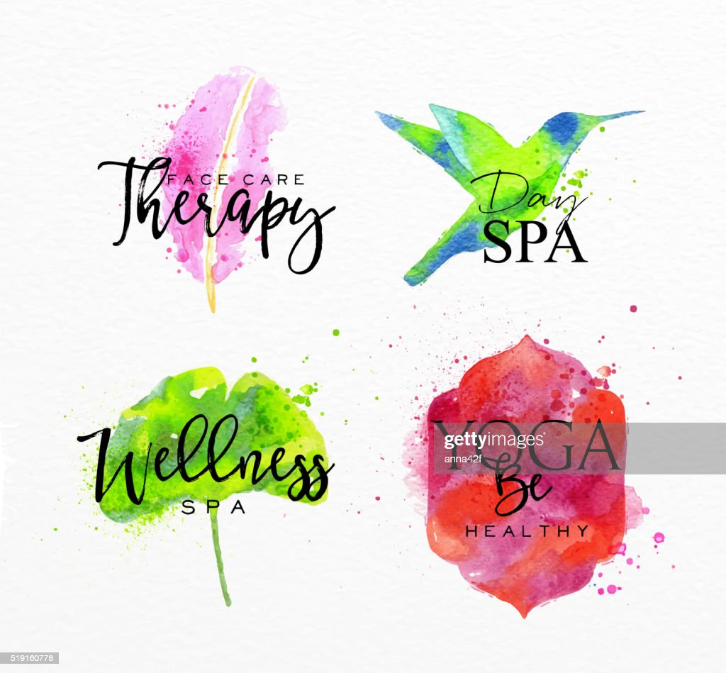 Beauty natural spa symbols feather