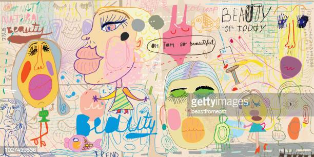 beauty of today patter - drawing artistic product stock illustrations, clip art, cartoons, & icons