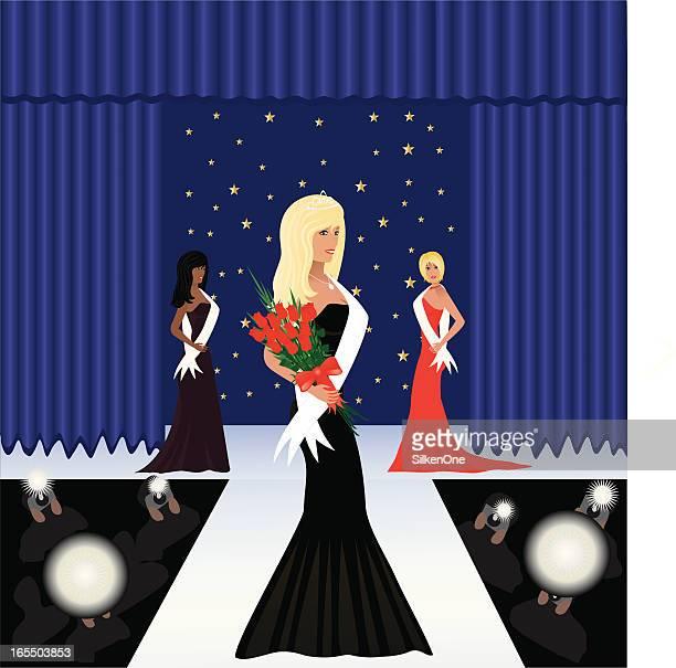 ilustraciones, imágenes clip art, dibujos animados e iconos de stock de belleza pagent - reina de belleza