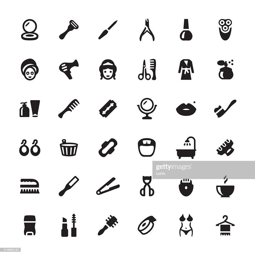 Beauty Product And Spa Vector Symbols And Icons High Res