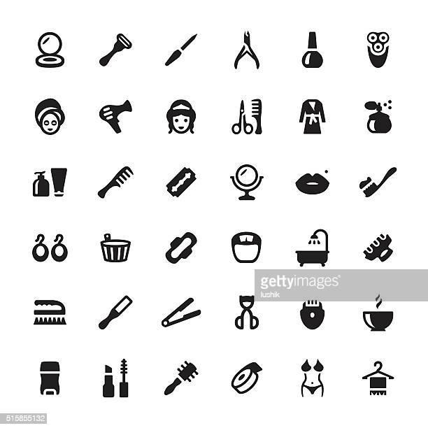 ilustraciones, imágenes clip art, dibujos animados e iconos de stock de productos de belleza y spa de vectores iconos y símbolos - maquillaje para ojos