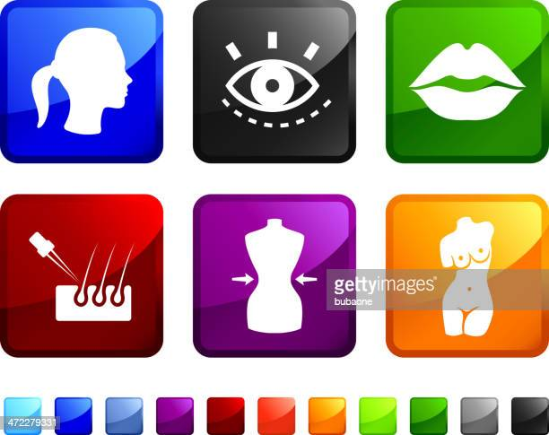 beauty products royalty free vector icon set - hair follicle stock illustrations
