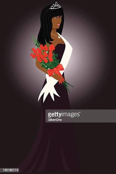 ilustraciones, imágenes clip art, dibujos animados e iconos de stock de reina de belleza - reina de belleza