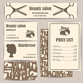 Beauty salon, barbershop vintage business cards and prices design template set