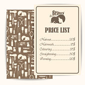 Beauty salon, barbershop vintage price list design