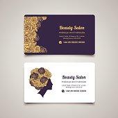 Beauty Salon business card design template with beautiful woman's profile