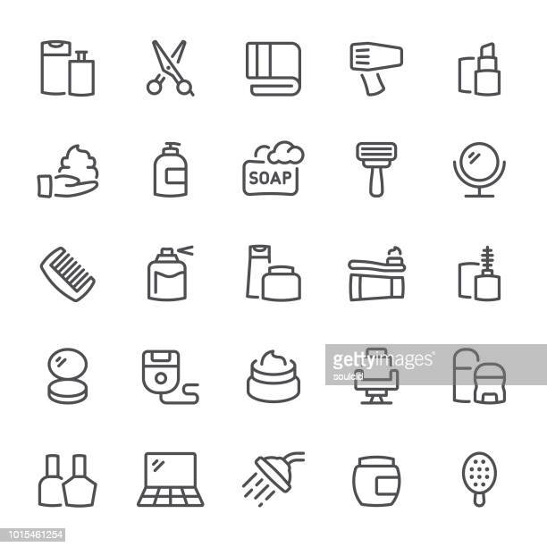 beauty salon icons - body care stock illustrations