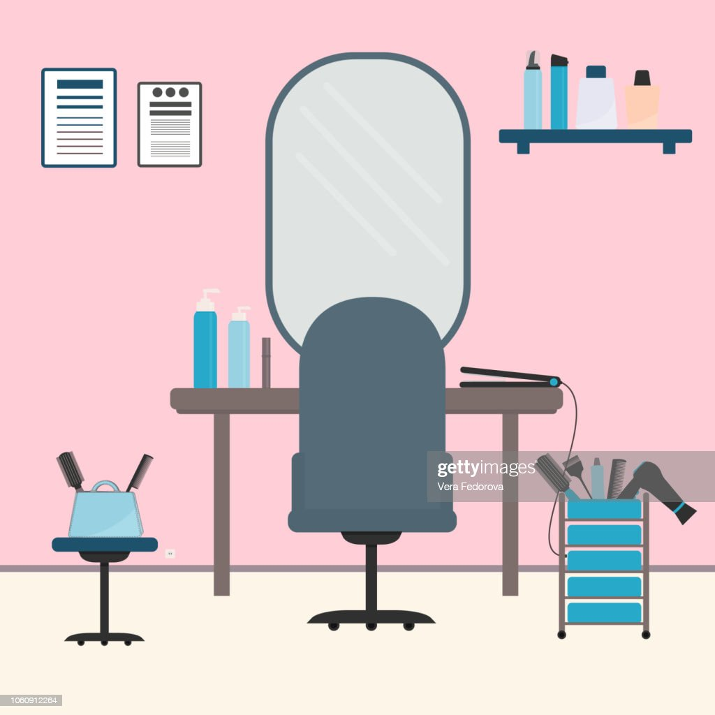 Beauty salon interior flat  vector illustration. Workplace of the hairdresser. Hairdressing tools. Beauty accessories for haircare.
