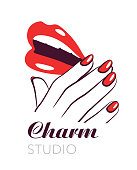 Beauty salon symbol, lips and nails vector label