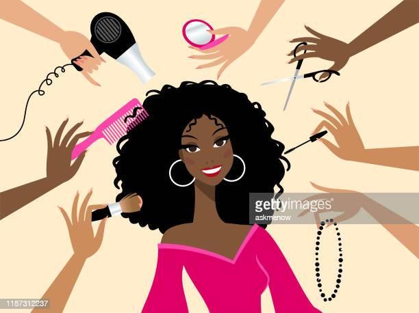 beauty salon - black hair stock illustrations