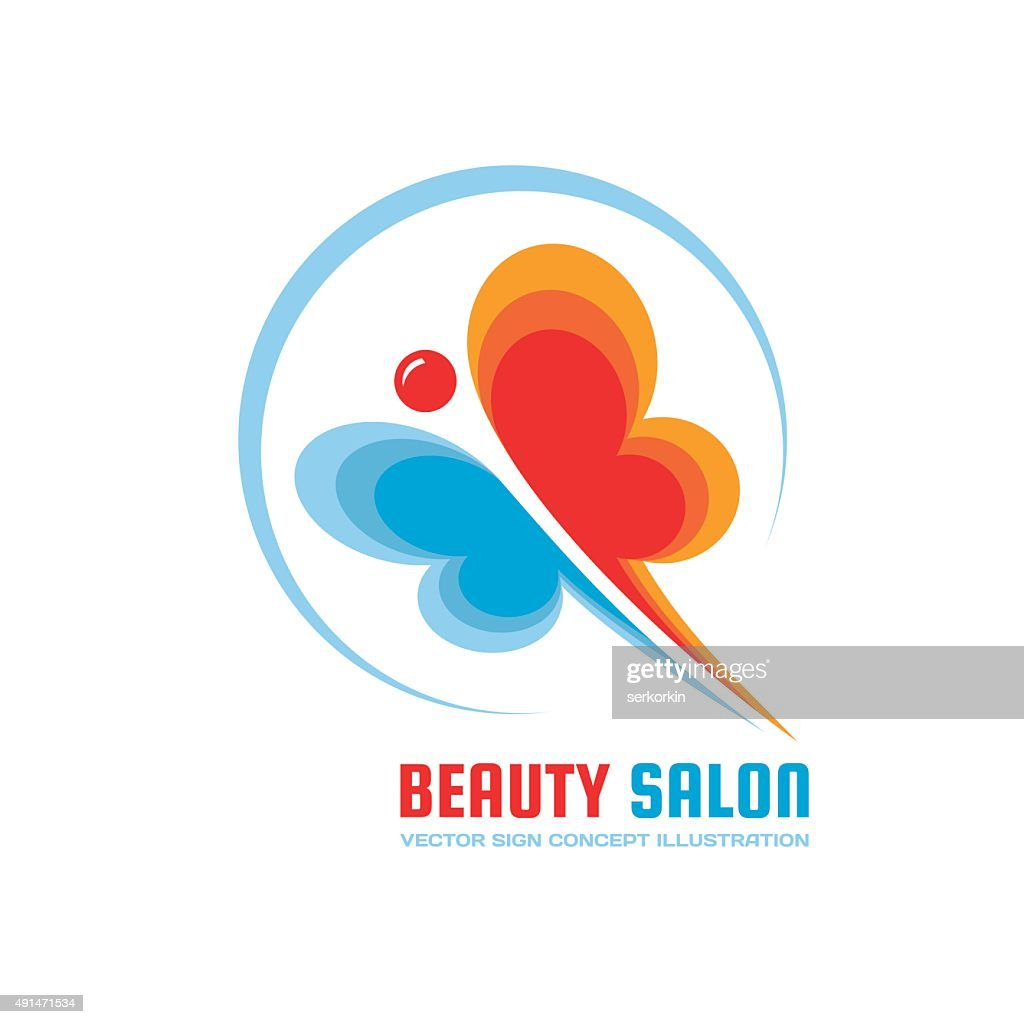 Beauty salon - vector sign illustration. Butterfly sign.