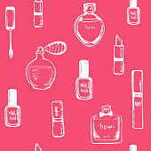 Beauty seamless pattern on pink background. sketch nail polish, lipstick, perfume. Hand drawing white outline design elements. Vector illustration. for wallpapers, pattern fills, web page backgrounds