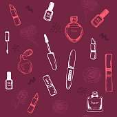Beauty seamless pattern. sketch nail polish, lipstick, mascara, perfume. Hand drawing white outline design elements. Vector illustration. for wallpapers, pattern fills, web page backgrounds