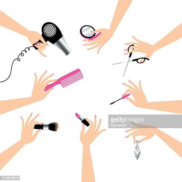 beauty service - 美容師点のイラスト素材/クリップアート素材/マンガ素材/アイコン素材