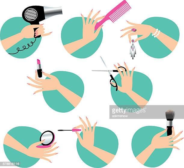 ilustraciones, imágenes clip art, dibujos animados e iconos de stock de beauty service - maquillaje para ojos