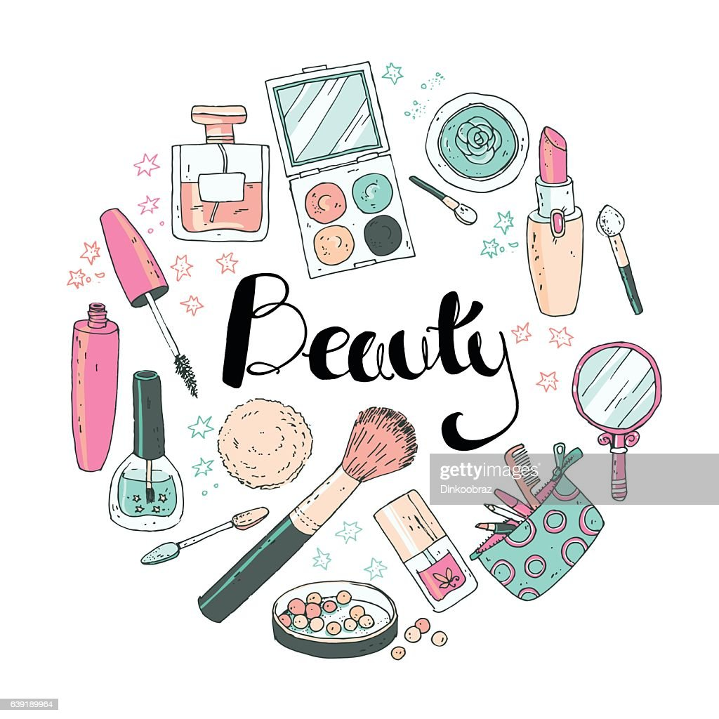 Beauty sketch background. Hand drawn doodle vector round illustr