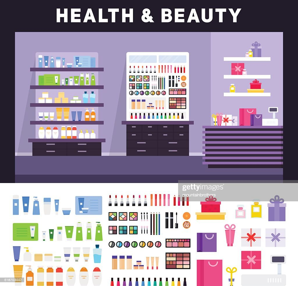 Beauty store with cosmetics on the shelves