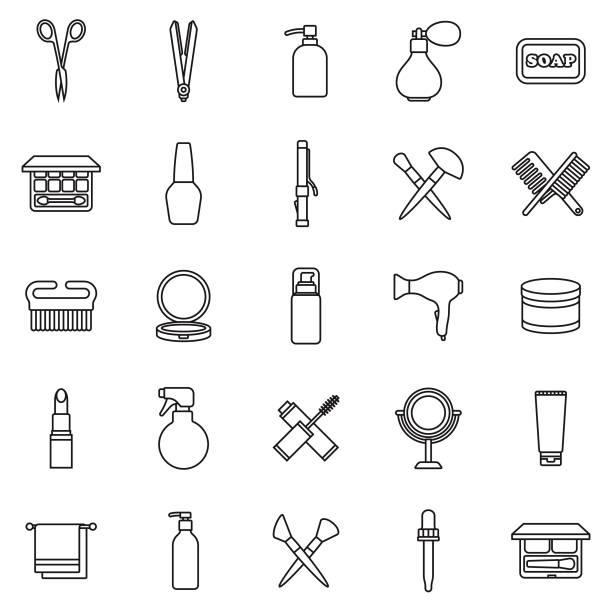 beauty thin line outline icon set - femininity stock illustrations