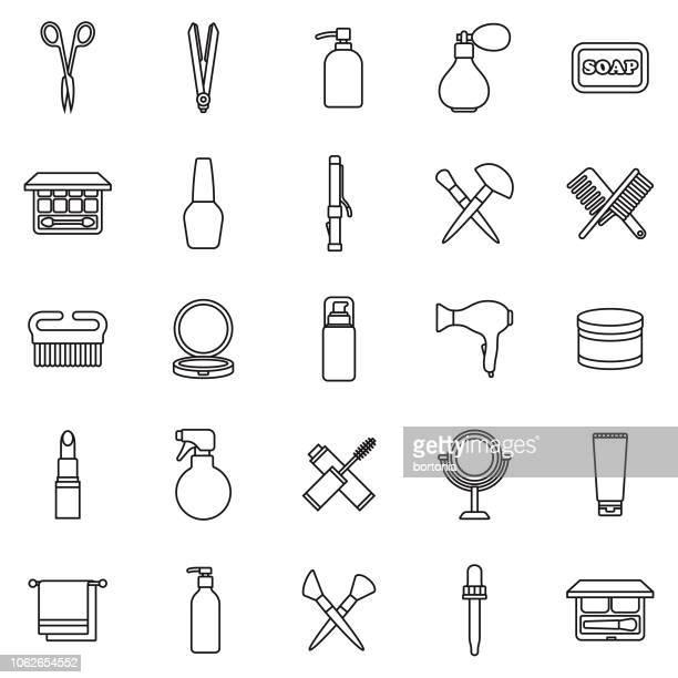 illustrazioni stock, clip art, cartoni animati e icone di tendenza di set di icone contorno linea sottile di bellezza - gruppo di oggetti