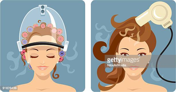 beauty treatment - hair - electric heater stock illustrations, clip art, cartoons, & icons