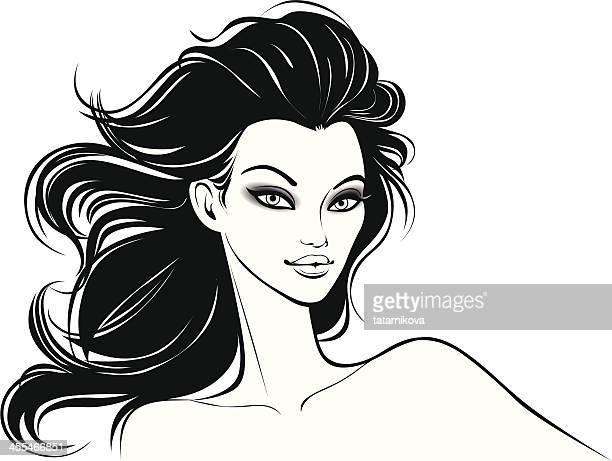 schönheit - attraktive frau stock-grafiken, -clipart, -cartoons und -symbole