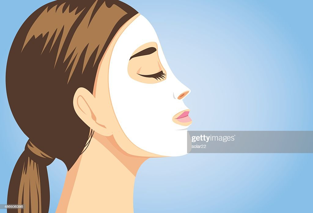 Beauty woman facial sheet mask side view