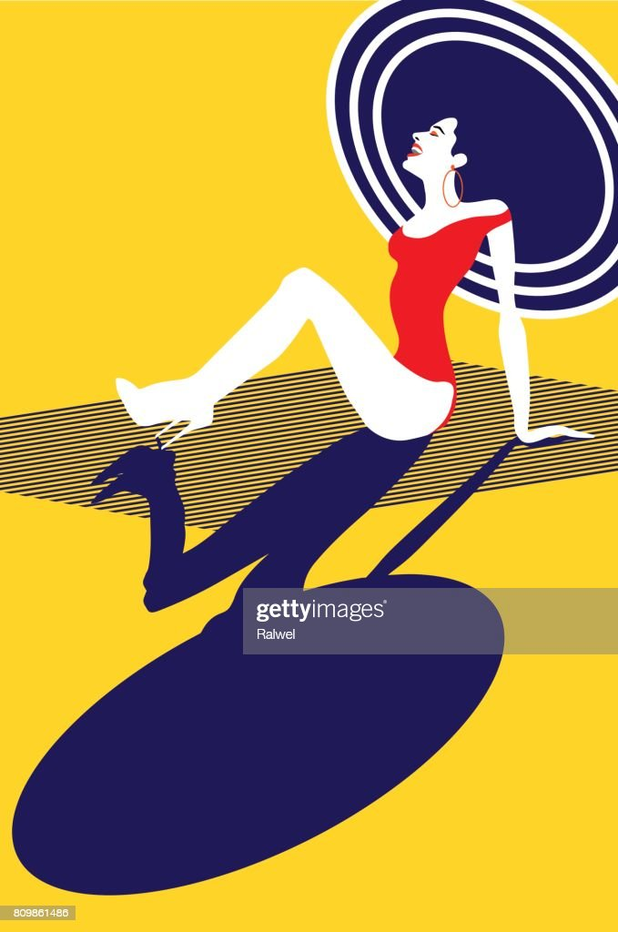 Beauty woman portrait. Happy woman laughing and sitting at the beach. Retro style, Pop art.