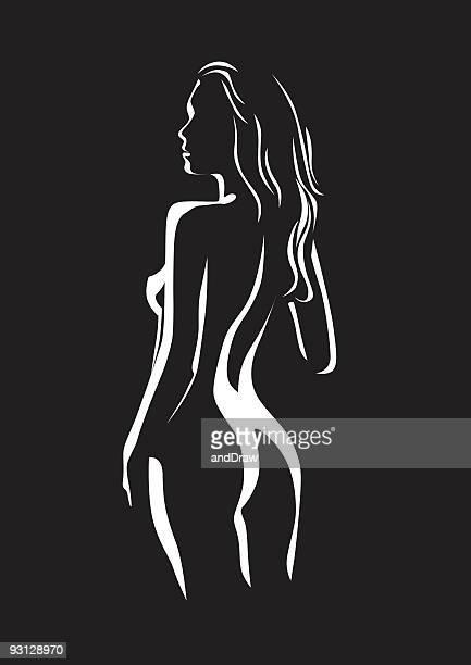illustrazioni stock, clip art, cartoni animati e icone di tendenza di bellezza donna in posa nel profilo - donna nuda