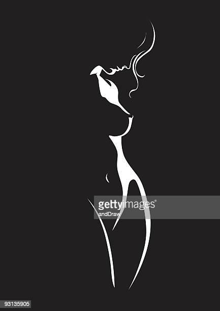 ilustraciones, imágenes clip art, dibujos animados e iconos de stock de belleza mujer posando en perfil - mujer desnuda