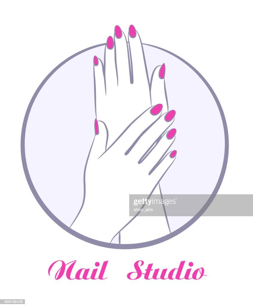 beauty women hands with manicure, fashion salon symbol