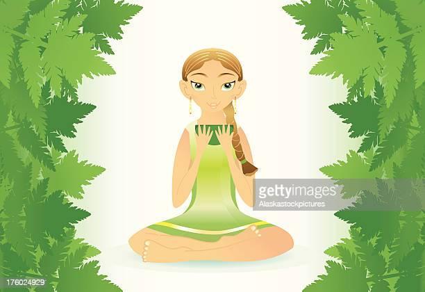 beauty yogawoman (forest mood). - sonnig stock illustrations