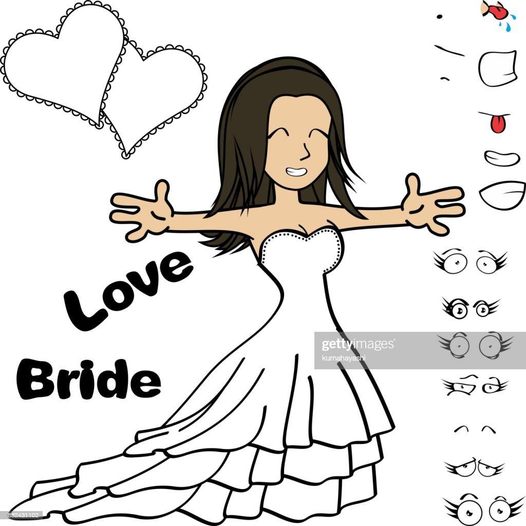 beauty young bride cartoon expressions set5