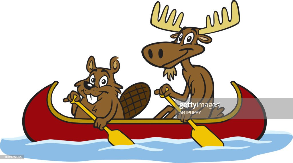 Beaver and Moose In Canoe