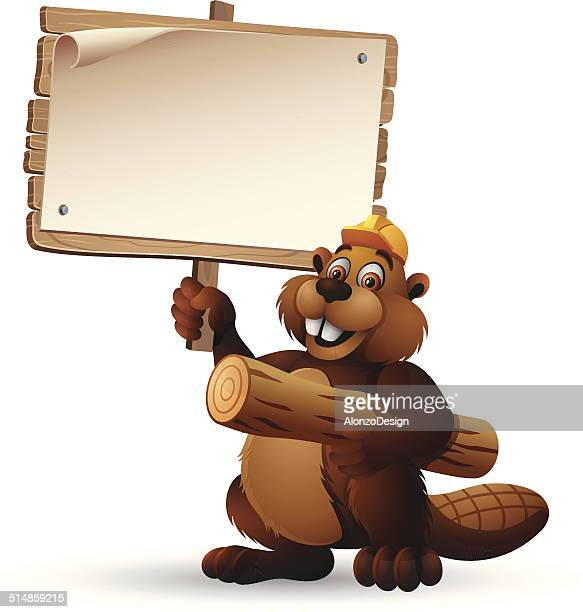 beaver character holding a wooden sign - funny beaver stock illustrations