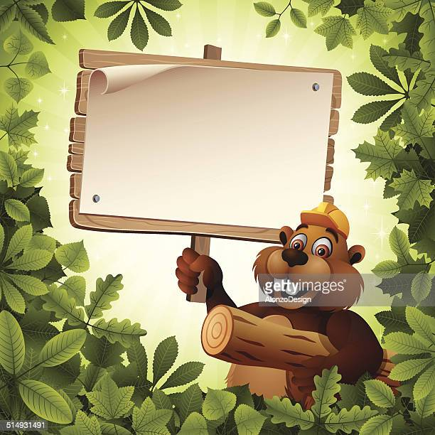 Beaver Character holding a Wooden Sign