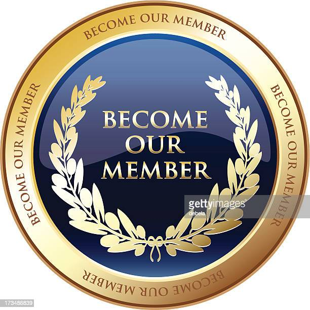 become our member advertisement medal - award plaque stock illustrations, clip art, cartoons, & icons