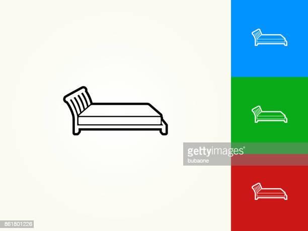 bed black stroke linear icon - mattress stock illustrations, clip art, cartoons, & icons