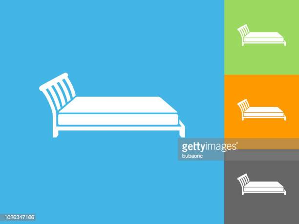 bed flat icon on blue background - mattress stock illustrations, clip art, cartoons, & icons