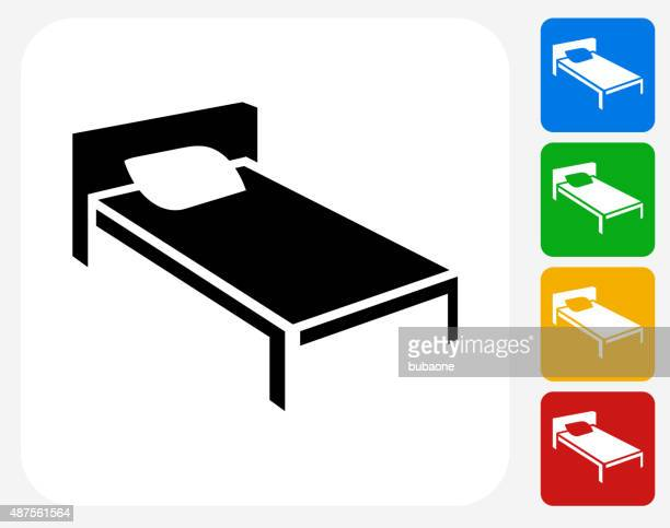 bed icon flat graphic design - mattress stock illustrations, clip art, cartoons, & icons