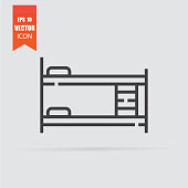 Bed icon in flat style isolated on grey background.