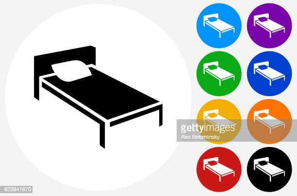 Bed Icon on Flat Color Circle Buttons