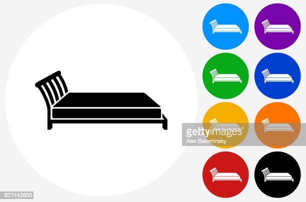 bed icon on flat color circle buttons - mattress stock illustrations, clip art, cartoons, & icons