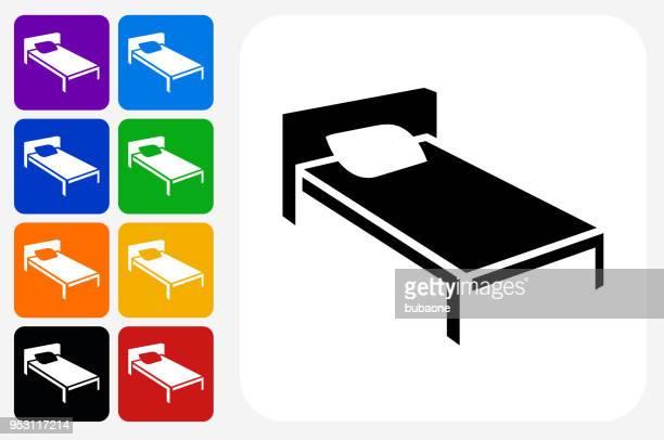 Bed Icon Square Button Set