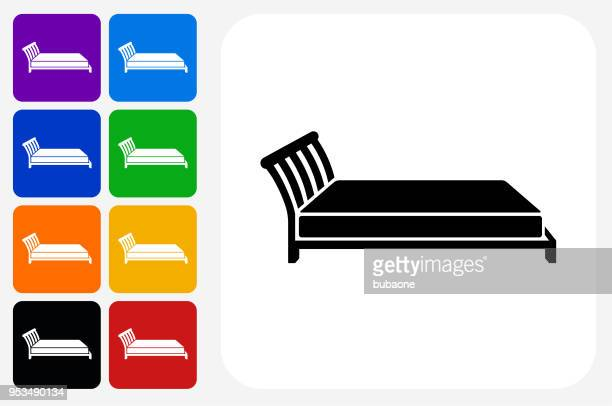 bed icon square button set - mattress stock illustrations, clip art, cartoons, & icons